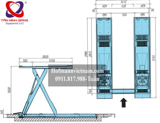 kích thước nâng hạ cầu heshbon HL32X